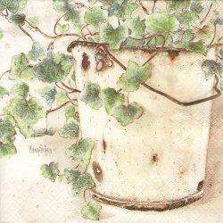 Ivy 白いバケツのアイビー 1枚 バラ売り 33cm ペーパーナプキン デコパージュ HOME FASHION