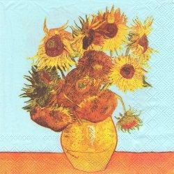 VAN GOGH : SUNFLOWERS ヴィンセント・ヴァン・ゴッホのひまわり 向日葵 1枚 バラ売り 33cm ペーパーナプキン デコパージュ Ihr