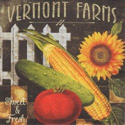 Vermont Farms - Sweet & Fresh 夏野菜とひまわり 向日葵 ラベル柄 1枚 バラ売り 33cm ペーパーナプキン デコパージュ ti-flair