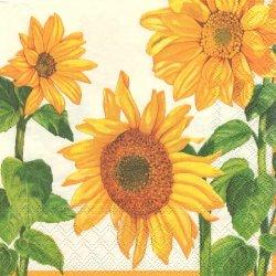 HELIANTHUS 3本のひまわり 向日葵 1枚 バラ売り 33cm ペーパーナプキン デコパージュ Ambiente