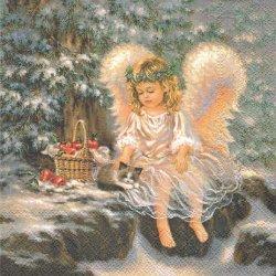 LITTLE ANGEL リトル・エンジェル 天使と子猫 1枚 バラ売り 33cm ペーパーナプキン デコパージュ Ambiente