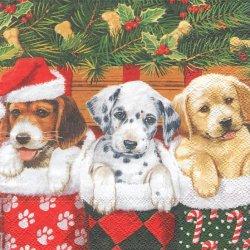 DOGGIES 3匹のサンタ帽子のビーグル犬 1枚 バラ売り 33cm ペーパーナプキン デコパージュ Ambiente