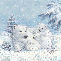 POLAR BEAR ポーラー・ベア 親子のシロクマ 熊 1枚 バラ売り 33cm ペーパーナプキン デコパージュ Ambiente