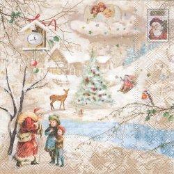 WINTER WONDERLAND クリスマス 天使 サンタ 1枚 バラ売り 33cm ペーパーナプキン デコパージュ Ambiente