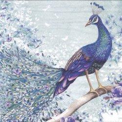 Peacock sitting on branch 蒼い孔雀 1枚 バラ売り 33cm ペーパーナプキン デコパージュ ti-flair
