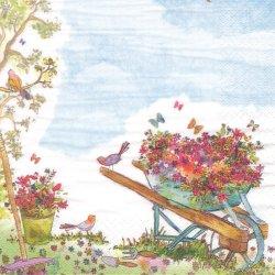 Wheelbarrow filled with Flowers 花の荷車 1枚 バラ売り 33cm ペーパーナプキン デコパージュ ti-flair