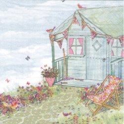 Summerhouse in the Garden 花畑のログハウス 1枚 バラ売り 33cm ペーパーナプキン デコパージュ ti-flair