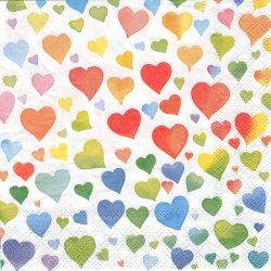 COLOURFUL HEARTS MIX カラフル・グラデーション・ハート 1枚 ばら売り 33cm ペーパーナプキン デコパージュ Ambiente