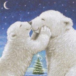 Polar bear kiss シロクマの大好き親子 1枚 バラ売り 33cm ペーパーナプキン デコパージュ Paper+Design