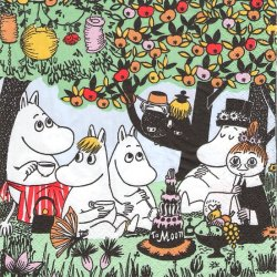 北欧 ムーミン Partymuumi リンゴの樹の下のバースデーパーティー 1枚 バラ売り 33cm ペーパーナプキン 紙ナプキン デコパージュ Suomen Kerta