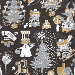 北欧 ムーミン Joulumuumi ブラック クリスマス MOOMIN 1枚 バラ売り 33cm ペーパーナプキン 紙ナプキン デコパージュ Suomen Kerta