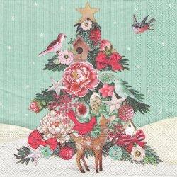FABRIC TREE デコレイテッドツリー 小鳥と鹿 1枚 ばら売り 33cm ペーパーナプキン デコパージュ Ambiente