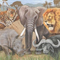 廃盤 BIG FIVE サファリの動物 1枚 バラ売り 33cm ペーパーナプキン 紙ナプキン デコパージュ Ambiente