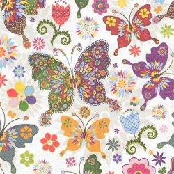 廃盤 カラフル模様の蝶 1枚 バラ売り 33cm ペーパーナプキン 紙ナプキン デコパージュ Maki