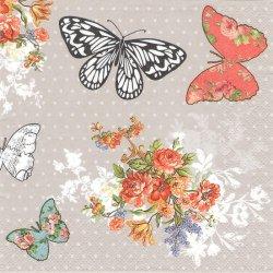 Vintage butterflies 薔薇のブーケと蝶 1枚 バラ売り 33cm ペーパーナプキン 紙ナプキン デコパージュ Maki
