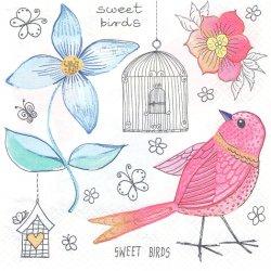 Sweet Birds ラフスケッチの小鳥 1枚 バラ売り 33cm ペーパーナプキン 紙ナプキン デコパージュ Maki