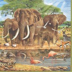 廃盤 African Wildlife サファリの象とフラミンゴ 1枚 バラ売り 33cm ペーパーナプキン 紙ナプキン デコパージュ Maki