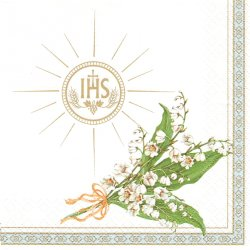 廃盤 Communion Lilies of the Valley 十字架と鈴蘭 1枚 バラ売り 33cm ペーパーナプキン 紙ナプキン デコパージュ Maki