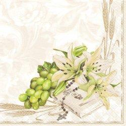 廃盤 Prayer Book with Lifes and Grapes 十字架と聖書と百合 1枚 ばら売り 33cm ペーパーナプキン デコパージュ Maki