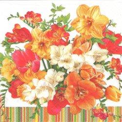 Sunny Bouquet オレンジカラーの花束 1枚 バラ売り 33cm ペーパーナプキン 紙ナプキン デコパージュ Maki