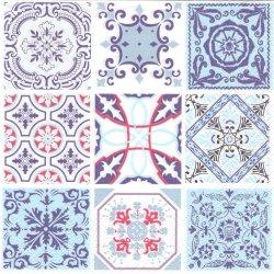 廃盤 Moroccan Tiles 9つのタイル模様 ブルー 1枚 バラ売り 33cm ペーパーナプキン デコパージュ Maki