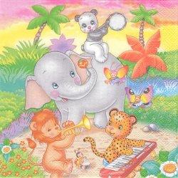 Animal Music Band 象とパンダとライオン、くまの音楽会 1枚 バラ売り 33cm ペーパーナプキン 紙ナプキン デコパージュ Maki