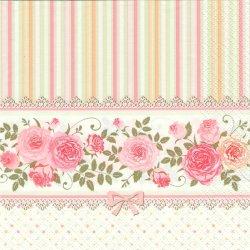 English Flowers ans Stripes 薔薇とピンクのストライプ パステルピンク 1枚 バラ売り 33cm ペーパーナプキン 紙ナプキン デコパージュ Maki