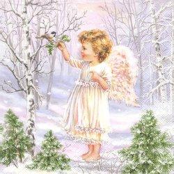 廃盤 Angel in the wood 雪景色と小さな天使 パステルパープル 1枚 バラ売り 33cm ペーパーナプキン 紙ナプキン デコパージュ Maki