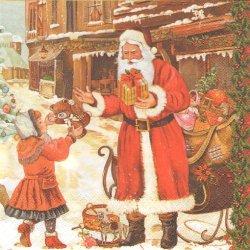 廃盤 街中でプレゼントを受け取るサンタクロース クリスマス 1枚 バラ売り 33cm ペーパーナプキン 紙ナプキン デコパージュ Maki