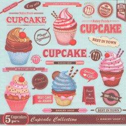 廃盤 Vintage Cupcake Poster ヴィンテージカップケーキのポスター ラベル柄 1枚 バラ売り 33cm ペーパーナプキン 紙ナプキン デコパージュ Maki