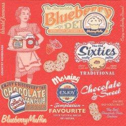 American Vintage Food レッド 50's お菓子のラベル柄 1枚 バラ売り 33cm ペーパーナプキン 紙ナプキン デコパージュ Maki