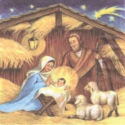 廃盤 HOLY FAMILY イエスの生誕 羊 1枚 バラ売り 33cm ペーパーナプキン 紙ナプキン デコパージュ Ambiente