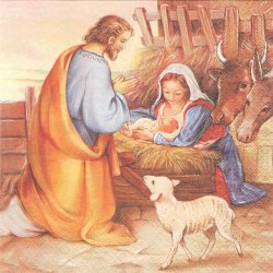 廃盤 Jesus is born イエスの生誕 絵画風 1枚 バラ売り 33cm ペーパーナプキン 紙ナプキン デコパージュ HOME FASHION