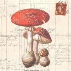 廃盤 Amantia Muscaria 赤い傘のきのこ 1枚 バラ売り 33cm ペーパーナプキン 紙ナプキン デコパージュ Nouveau