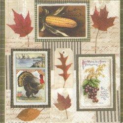 廃盤 Thanksgiving 七面鳥、メープルリーフ 秋の収穫祭 きのこ ラベル柄 1枚 バラ売り 33cm ペーパーナプキン 紙ナプキン デコパージュ Nouveau