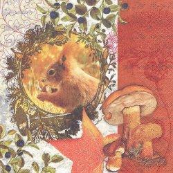 Autumn Flair 秋のリースとリス きのこ 1枚 バラ売り 33cm ペーパーナプキン 紙ナプキン デコパージュ HOME FASHION