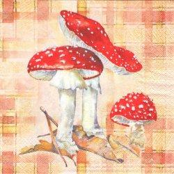 Toad Stool チェックに赤い傘のきのこ 1枚 バラ売り 33cm ペーパーナプキン 紙ナプキン デコパージュ HOME FASHION