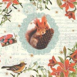 廃盤 松ぼっくりを抱えたリス、小鳥ときのこ 1枚 バラ売り 33cm ペーパーナプキン 紙ナプキン デコパージュ stewo