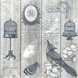 廃盤 Vintage Birds & Cages グレー モノトーンスタンプ 小鳥とバードケージ 1枚 バラ売り 33cm ペーパーナプキン 紙ナプキン デコパージュ Daisy