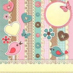 Scrapbook Elements ハンドメイドスクラップ 2羽の小鳥 1枚 バラ売り 33cm ペーパーナプキン 紙ナプキン デコパージュ Daisy