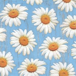 Daisies on Bule Background 水色に白いデイジー 1枚 バラ売り 33cm ペーパーナプキン 紙ナプキン デコパージュ Daisy