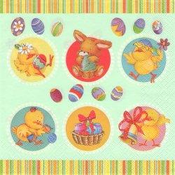 Easter Animals in Circles 可愛いひよことうさぎ 50's 1枚 バラ売り 33cm ペーパーナプキン 紙ナプキン デコパージュ Daisy