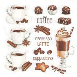 Coffee Cups & Chocolate Sweet コーヒー ラテ エスプレッソ カプチーノ 1枚 バラ売り 33cm ペーパーナプキン 紙ナプキン デコパージュ Daisy