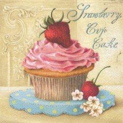 Pastry いちごクリームのカップケーキ 1枚 バラ売り 33cm ペーパーナプキン 紙ナプキン デコパージュ Nouveau