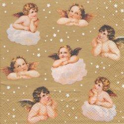 考える天使 エンジェル 金 ゴールド 1枚 バラ売り 33cm ペーパーナプキン 紙ナプキン デコパージュ stewo