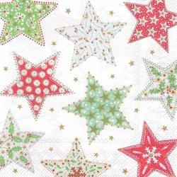 パッチワークの星 1枚 バラ売り 33cm ペーパーナプキン 紙ナプキン デコパージュ stewo
