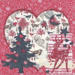 廃盤 WINTER COLLAGE ローズピンク ハートとバンビのクリスマス 1枚 バラ売り 33cm ペーパーナプキン 紙ナプキン デコパージュ Ambiente