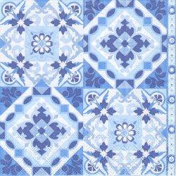廃盤 TILES ブルー タイル 1枚 バラ売り 33cm ペーパーナプキン 紙ナプキン デコパージュ Ambiente