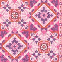 廃盤 TILES ピンクライラック タイル 1枚 バラ売り 33cm ペーパーナプキン 紙ナプキン デコパージュ Ambiente