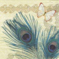 廃盤 PEACOCK FEATHERS クジャクの羽根とモンシロチョウ 1枚 バラ売り 33cm ペーパーナプキン 紙ナプキン デコパージュ Ambiente